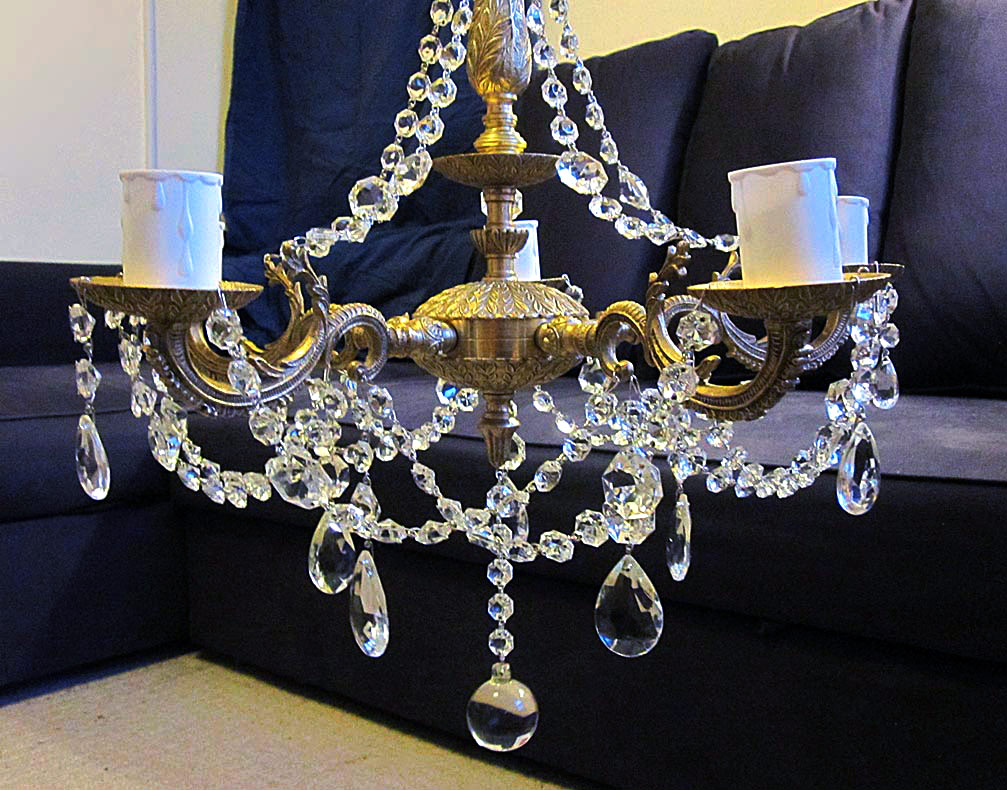 brass chandelier after